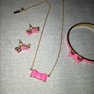 Kate Spade pink bow earrings, bracelet,necklace